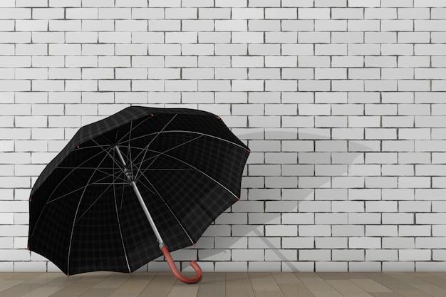 レンガの壁の前にある大きなモダンで豪華な傘。 3dレンダリング。