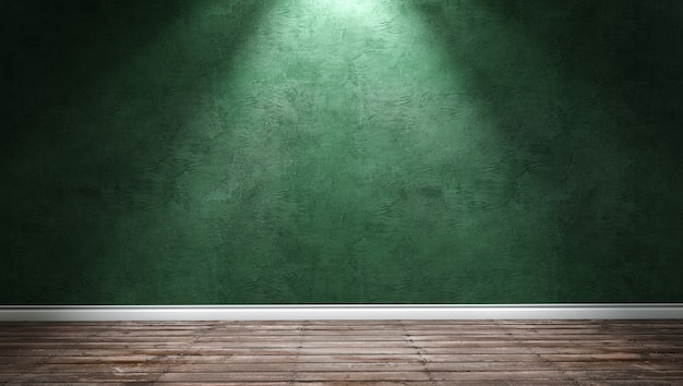 Big modern room with green plaster wall and directional light