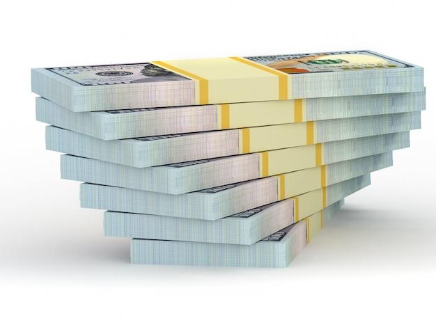 ドルから大きなお金が積み重なる。ビジネスと金融の概念