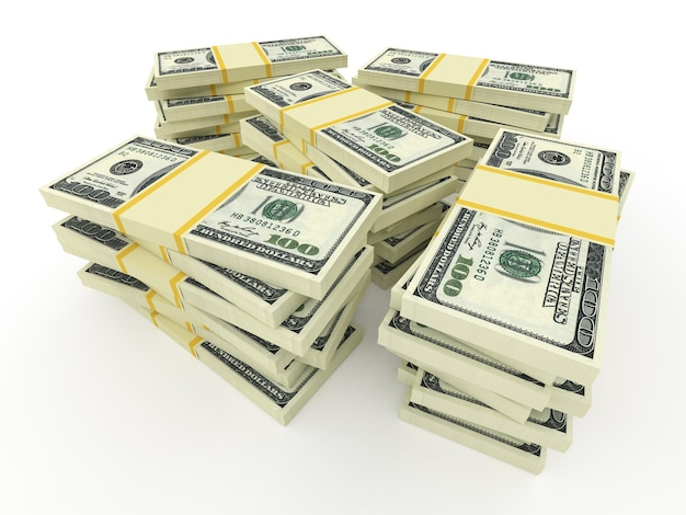 白で隔離されるドルからの大きなお金のスタック