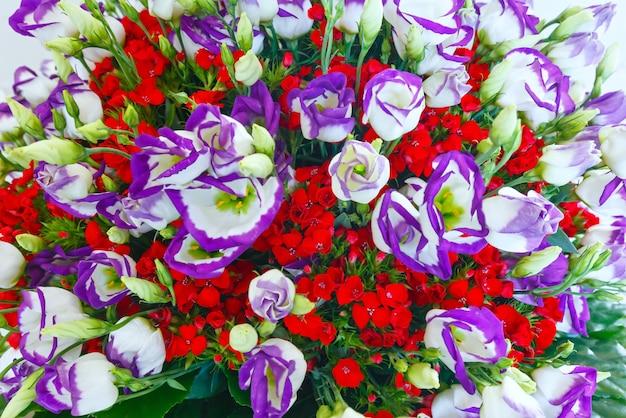 大きな多色白 - ピンク - 赤の素晴らしい夏の花の花束