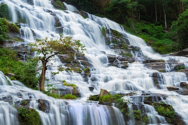 Big natural water fall from a mountain in chiang mai, thailand.
