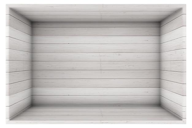 Большой открытый пустой старый деревянный ящик доски на белом фоне 3d рендеринга