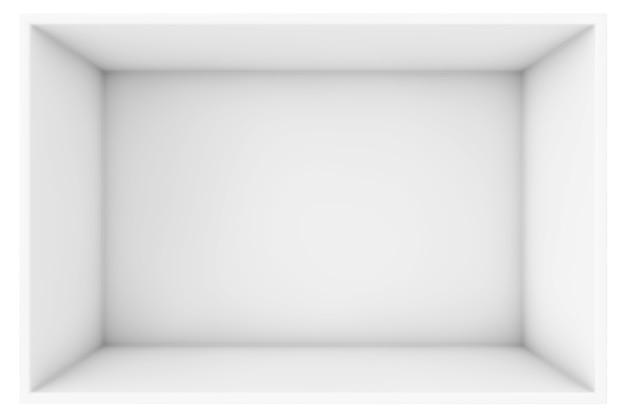 흰색 배경 3d 렌더링에 큰 열린된 빈 흰색 상자