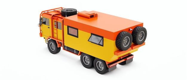 외딴 지역 3d 그림에서 길고 도전적인 탐험을 위해 준비된 큰 주황색 트럭