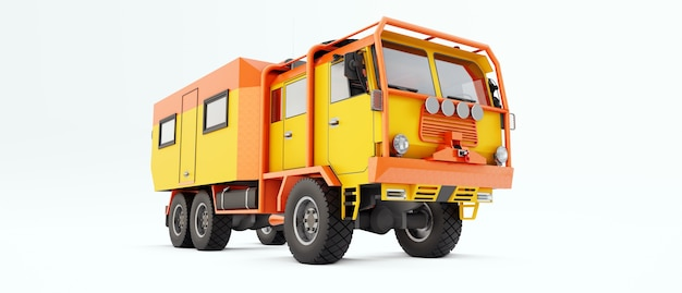 Большой оранжевый грузовик подготовлен к долгим и сложным экспедициям в отдаленные районы. грузовик с домиком на колесах. 3d иллюстрации.