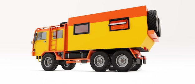 외딴 지역에서 길고 어려운 탐험을 위해 준비된 큰 주황색 트럭. 바퀴에 집이 있는 트럭. 3d 그림입니다.
