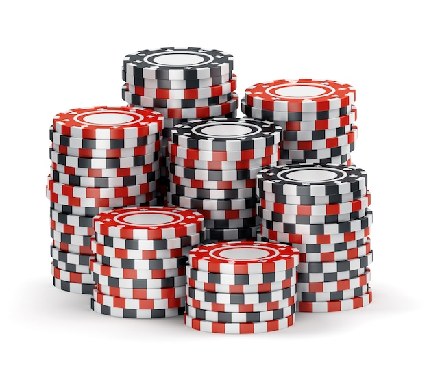 Big pile of black and red casino tokens