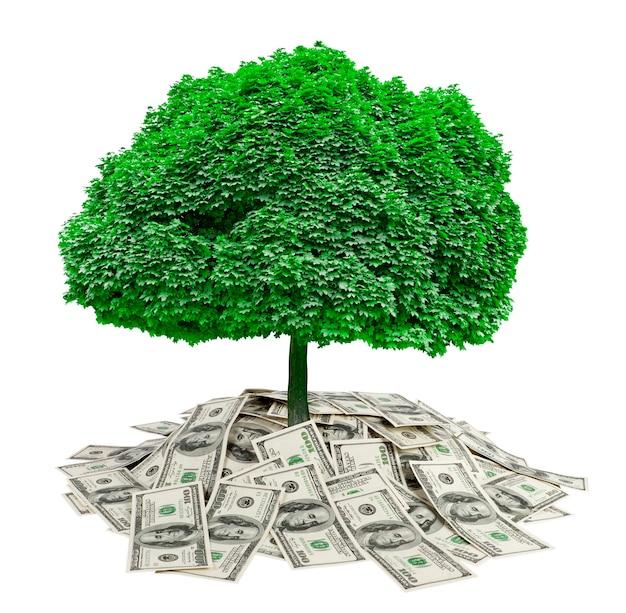 Большая куча денег. долларов на белом фоне и дереве. финансы