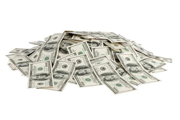 Большая куча денег, изолированные на белом фоне