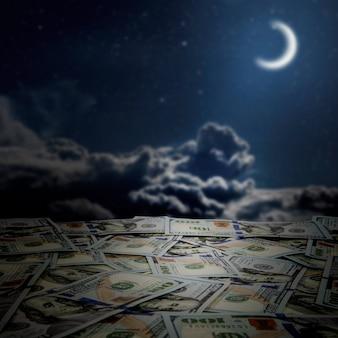 空の背景にアメリカドルのお金のスタックの大きな山