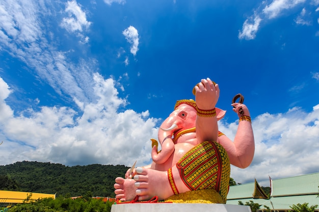 Big pink ganesha statue in ganesha park temple nakhon nayok province, thailand