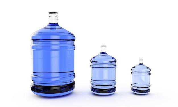 Большая пластиковая бочка, галлоновая бутылка для офисного кулера для воды. 3d визуализация, изолированные на белом фоне.