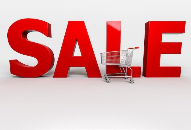 Большая красная продажа слова 3d с тележкой на белизне. 3d визуализация