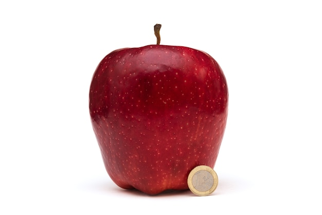 Big red apple on white background
