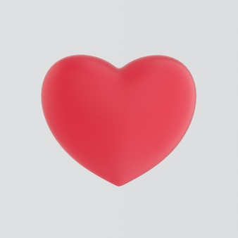 Big red heart isolated on white wall with reflection effect. realistic romantic element. for wedding, anniversary, birthday, valentine's day. like symbol. romantic concept. 3d rendering