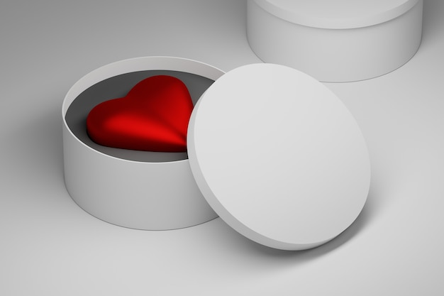 Big red heart in white round box with blank space