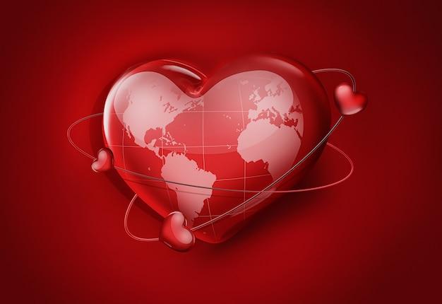 Большое красное сердце с картой мира - концептуальное изображение праздника дня святого валентина