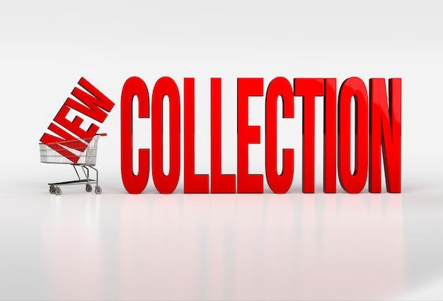白のショッピングカートに大きな赤い新しいコレクションのテキスト。 3dレンダリング