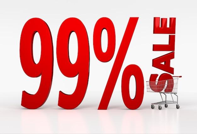 Большой красный знак скидки девяносто девять процентов в тележке для покупок на белом. 3d визуализация