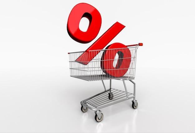 大きな赤いパーセント記号は、白のリアルなショッピングカートにサインインします。 3dレンダリング