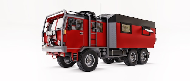Большой красный грузовик подготовлен к долгим и сложным экспедициям в отдаленные районы. грузовик с домиком на колесах. 3d иллюстрации.