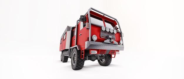 외딴 지역에서 길고 어려운 탐험을 위해 준비된 큰 빨간 트럭. 바퀴에 집이 있는 트럭. 3d 그림입니다.