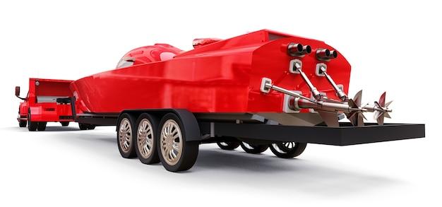 白い背景の上のレーシングボートを輸送するためのトレーラー付きの大きな赤いトラック。 3dレンダリング。