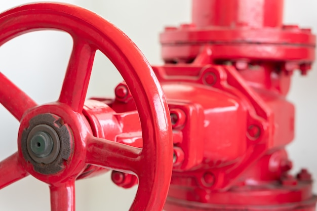 Big red valve of water pipe connection