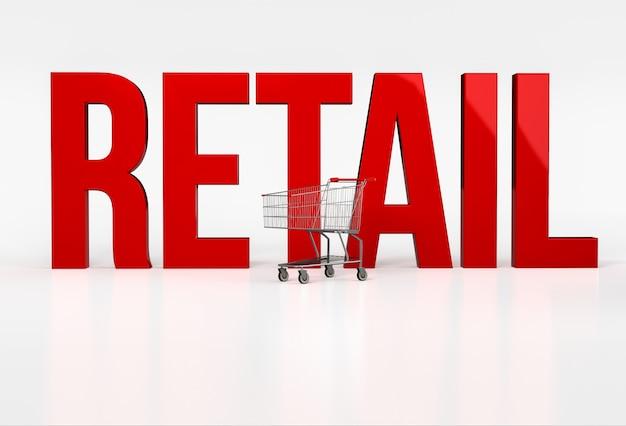 ショッピングカートの横にある白の大きな赤い単語の小売り。 3dレンダリング