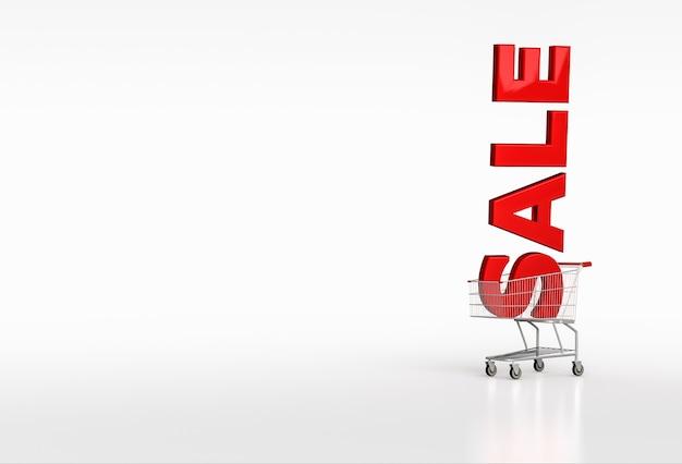 화이트에 장바구니에 큰 빨간 단어 판매. 텍스트를 놓습니다. 3d 렌더링