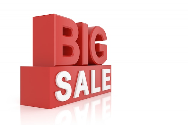 Big sale banner. 3d rendering.