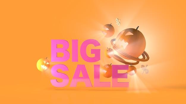 Большая распродажа баннер хэллоуин тыква событие мега распродажа флеш-распродажа 3d визуализация 3d-рендеринг