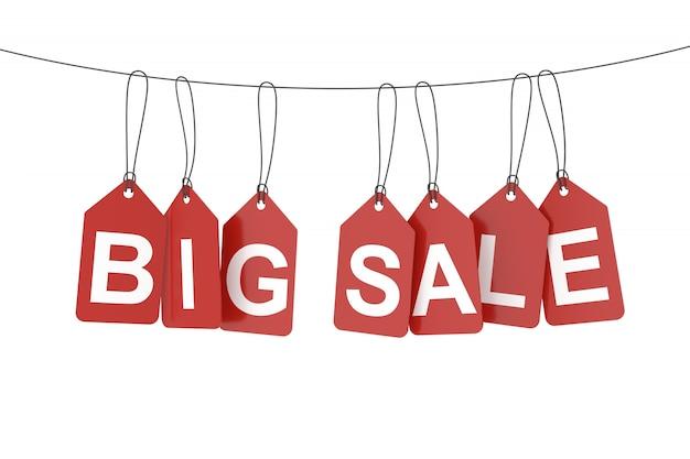 Большая распродажа висит теги или этикетки. 3d-рендеринг.