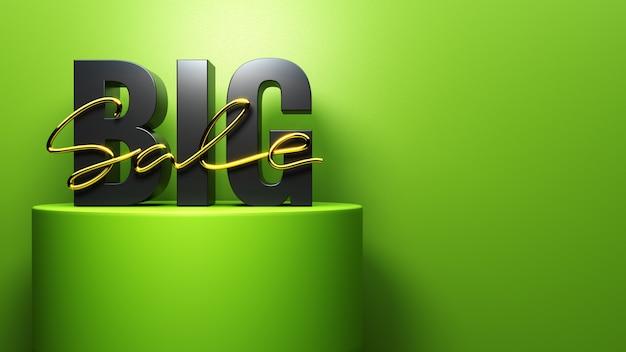 Левая надпись big sale стоит на круглом зеленом подиуме
