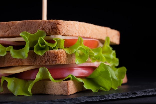 Big sandwich with ham and cheese.