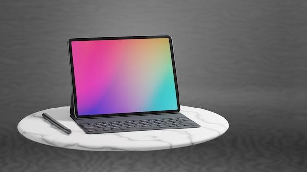 大理石の円のテーブルと灰色の背景に配置されたケースキーボードを備えた大画面タブレット。 3dレンダリング画像。