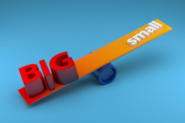 Big and small - seesaw weight unbalance concept. 3d rendering