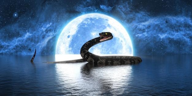 満月の背景に大きなヘビ、3dイラスト