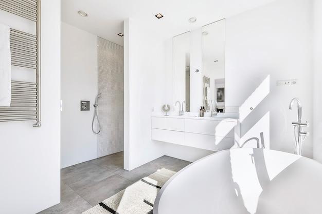 Большая ванна с хромированным смесителем и двойная раковина с зеркалом и душевым уголком в современной ванной комнате дома. Premium Фотографии