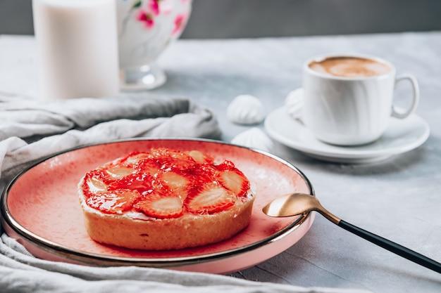 Big strawberry jelly cake for breakfast