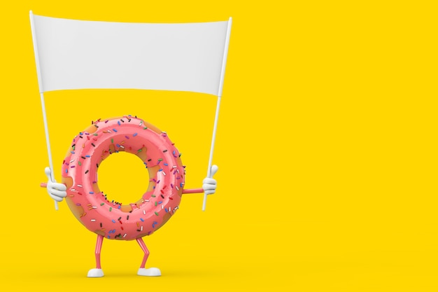 Большой клубничный розовый глазурованный талисман характера пончика и пустой белый пустой баннер с свободным пространством для вашего дизайна на желтом фоне. 3d рендеринг