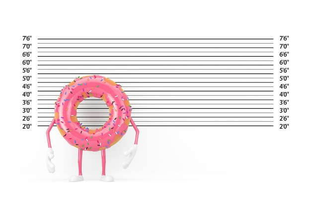 Big strawberry pink glazed donut character mascot in front of police lineup or mugshot background extreme closeup. 3d rendering
