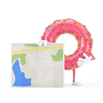 白い背景の上の抽象的な都市計画マップと大きなストロベリーピンクの艶をかけられたドーナツのキャラクターのマスコット。 3dレンダリング