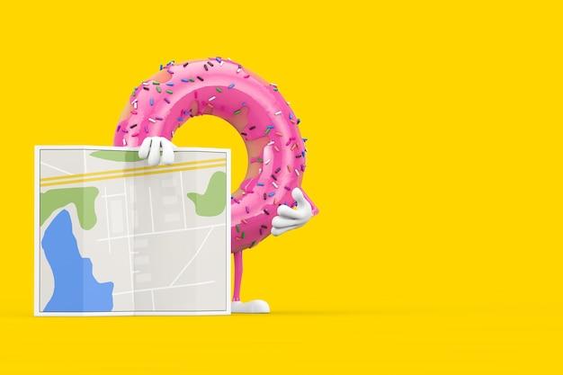 黄色の背景に抽象的な都市計画マップと大きなストロベリーピンクの艶をかけられたドーナツのキャラクターのマスコット。 3dレンダリング