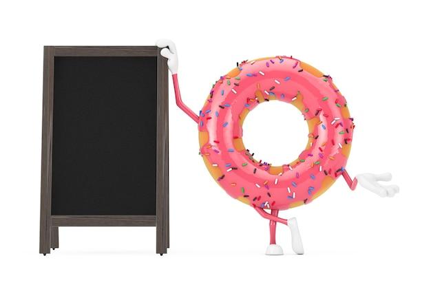 흰색 바탕에 빈 나무 메뉴 칠판 야외 디스플레이와 큰 딸기 핑크 글레이즈 도넛 캐릭터 마스코트. 3d 렌더링