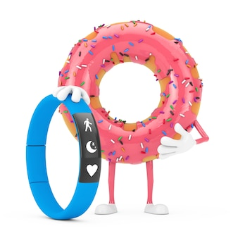 Big strawberry pink glazed donut character mascot with blue fitness tracker on a white background. 3d rendering