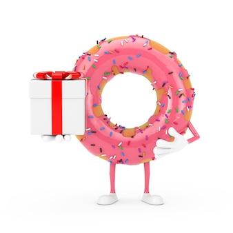 흰색 바탕에 빨간 리본이 달린 선물 상자가 있는 큰 딸기 핑크 글레이즈드 도넛 캐릭터 마스코트. 3d 렌더링