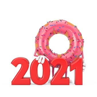 흰색 바탕에 빨간색 2021년 새해 기호가 있는 큰 딸기 핑크 글레이즈드 도넛 캐릭터 마스코트. 3d 렌더링
