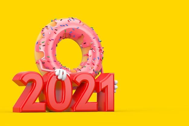 노란색 배경에 빨간색 2021년 새해 기호가 있는 큰 딸기 핑크 글레이즈드 도넛 캐릭터 마스코트. 3d 렌더링